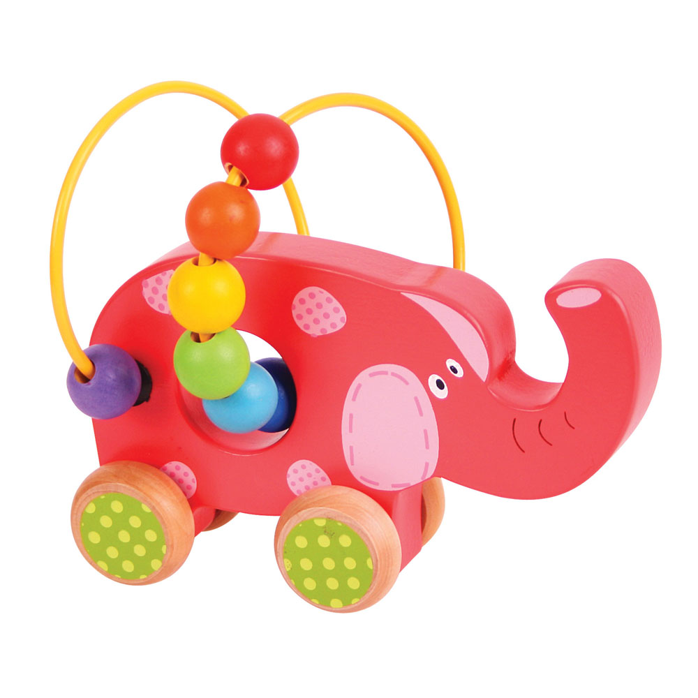 Elephant Bead Frame Push Along promotes mobility, co-ordination and dexterity skills.