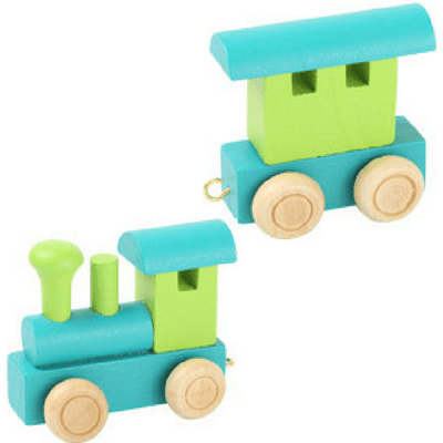 Name train blue and green engine and fender